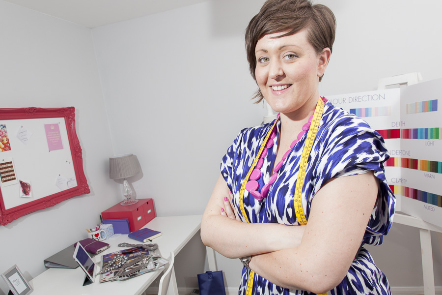 Image of Kathryn Clarke, Image Consultant in her studio in Spennymoor, Co. Durham.
